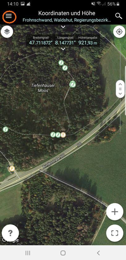 """Die rote Markierungs-Nadel ist ausgeblendet, das """"Menü""""-Symbol erscheint oben links."""