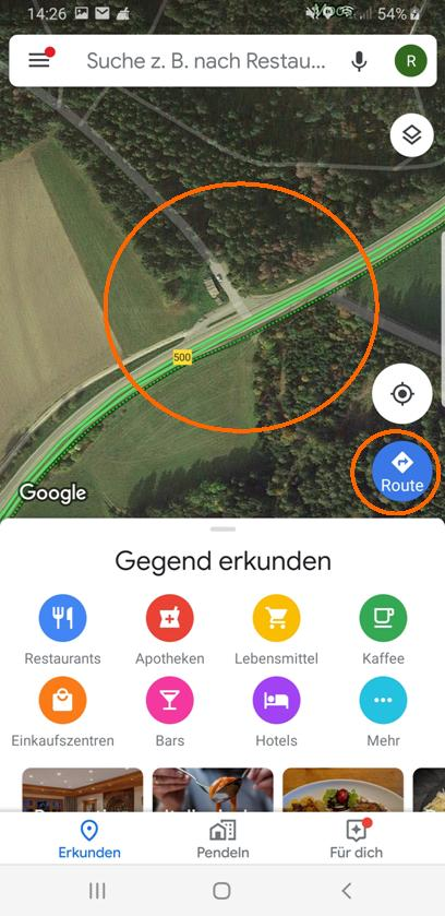 """In Google Maps wird der KArtenausschnitt des Markers gezeigt. Jetzt """"Route"""" wählen."""