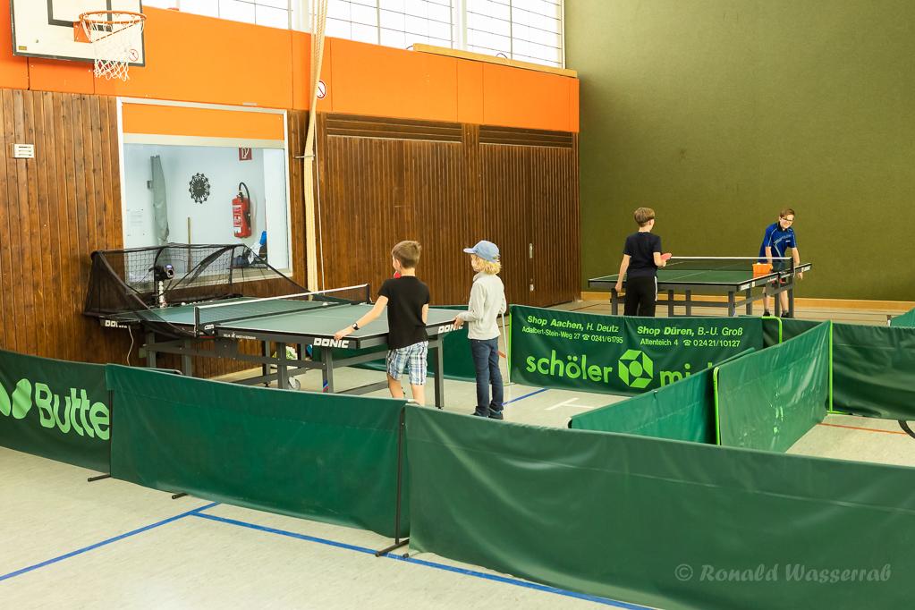 Der Stand des Tischtennis-Vereins in der Mehrzweckhalle am Helmut-Rösseler-Platz