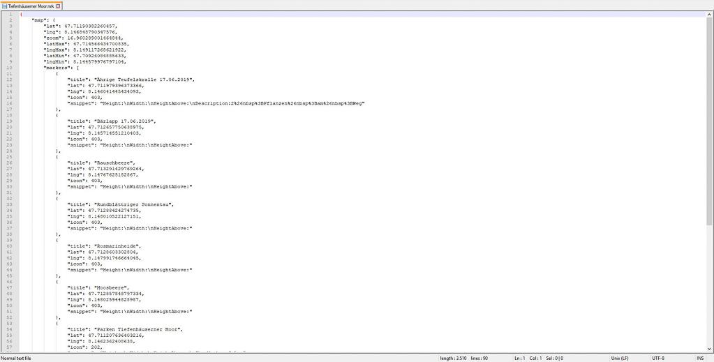 """Die exportierte Datei """"Tiefenhäuserner Moor.mrk"""" mit einem Editor geöffnet."""