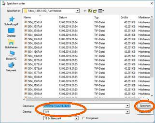 Zur späteren Weiterverarbeitung sollte das Summenbild im TIFF-Format gespeichert werden