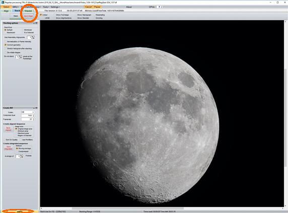 """Das Summenbild mit """"Save Image"""" speichern (möglichst im PNG-Format) und ggf. die RegiStax-Wavelet-Bearbeitung starten"""