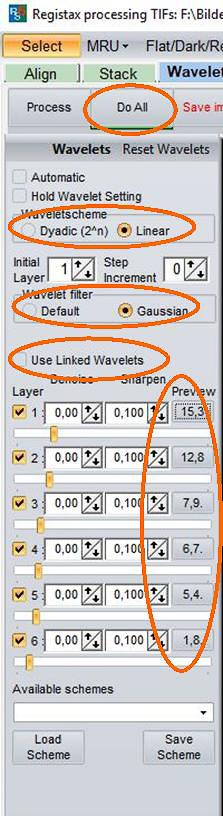 """Beispiel-Einstellung unverknüpfter RegiStax-Wavelets. Mit """"Do All"""" werden die Werte auf das ganze Bild angewendet."""