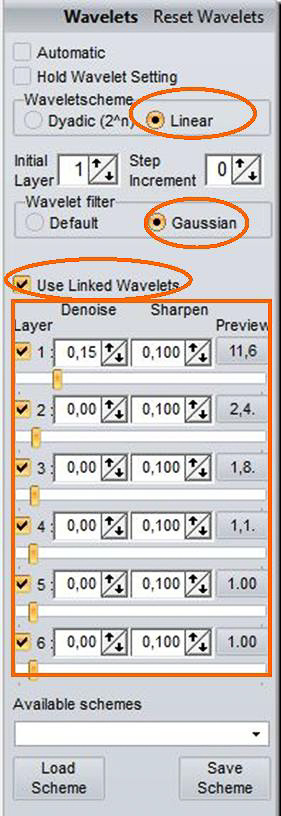 Beispiel 08: Verknüpfte RegiStax-Wavelets Linear