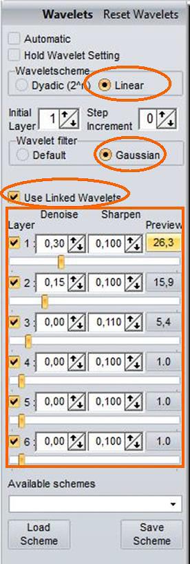 Beispiel 09: Verknüpfte RegiStax-Wavelets Linear