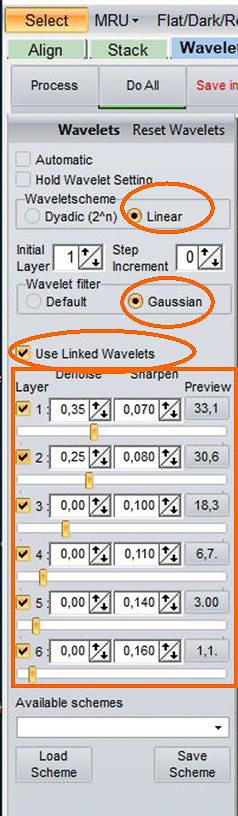 Beispiel 03: Verknüpfte RegiStax-Wavelets Linear