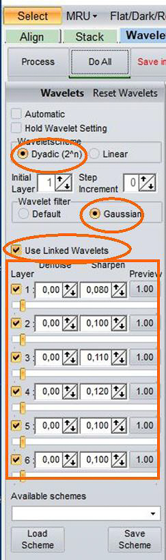Beispiel 04: Verknüpfte RegiStax-Wavelets Dyadic