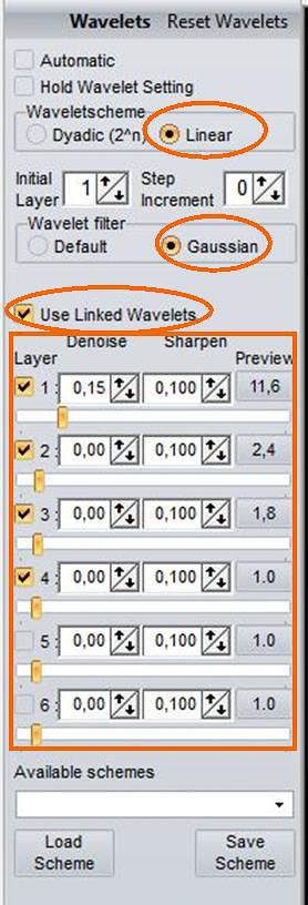 Beispiel 05: Verknüpfte RegiStax-Wavelets Linear