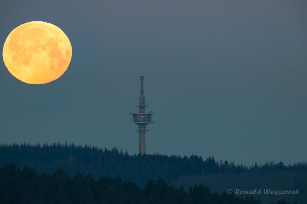 Endlich ein wolkenfreier Himmel beim Monduntergang