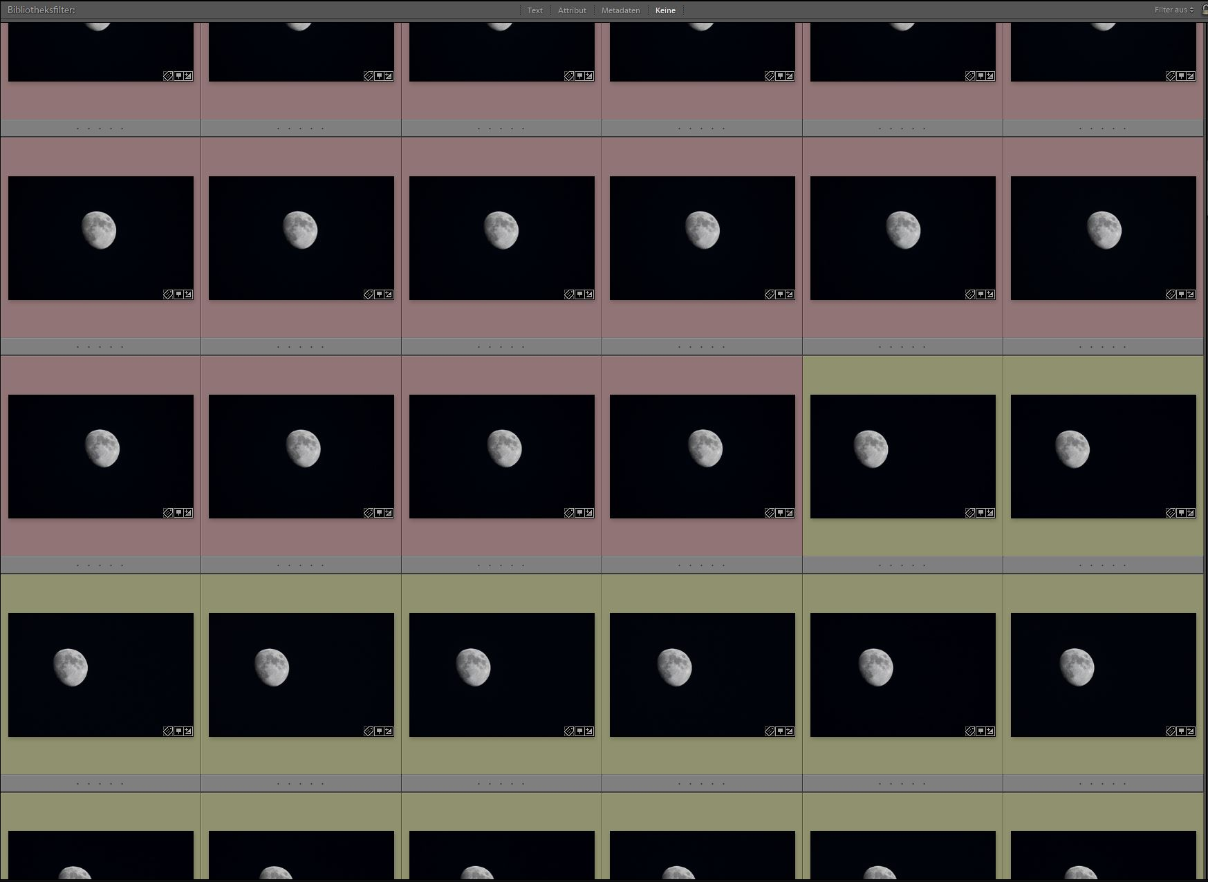 Anhand der Farbmarkierungen sollten alle Fotos einer Mondfotografie-Serie schnell identifizierbar sein