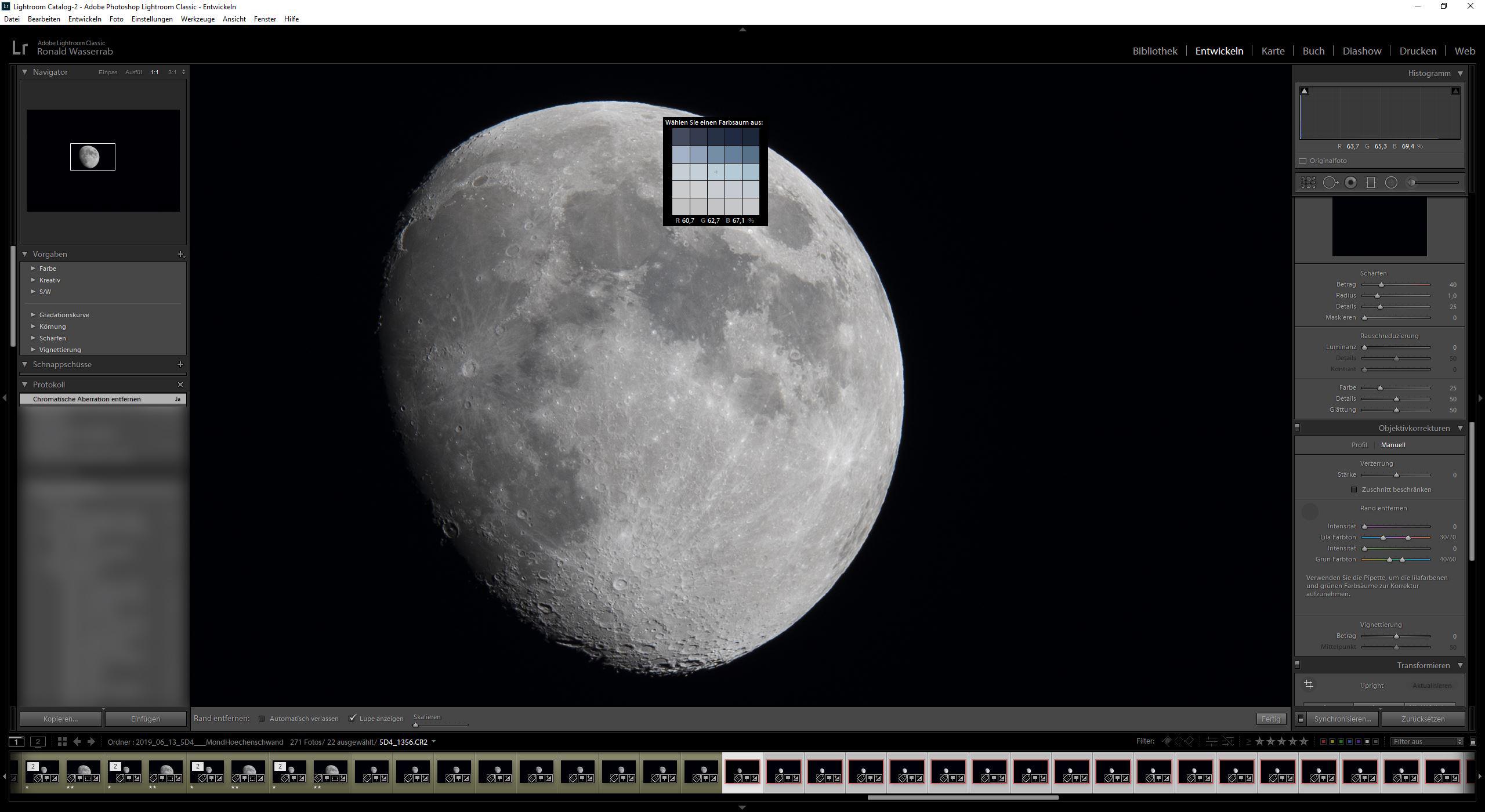 In der 100%-Ansicht wurden die Belichtung und die chromatische Aberration der Mondfotografie korrigiert