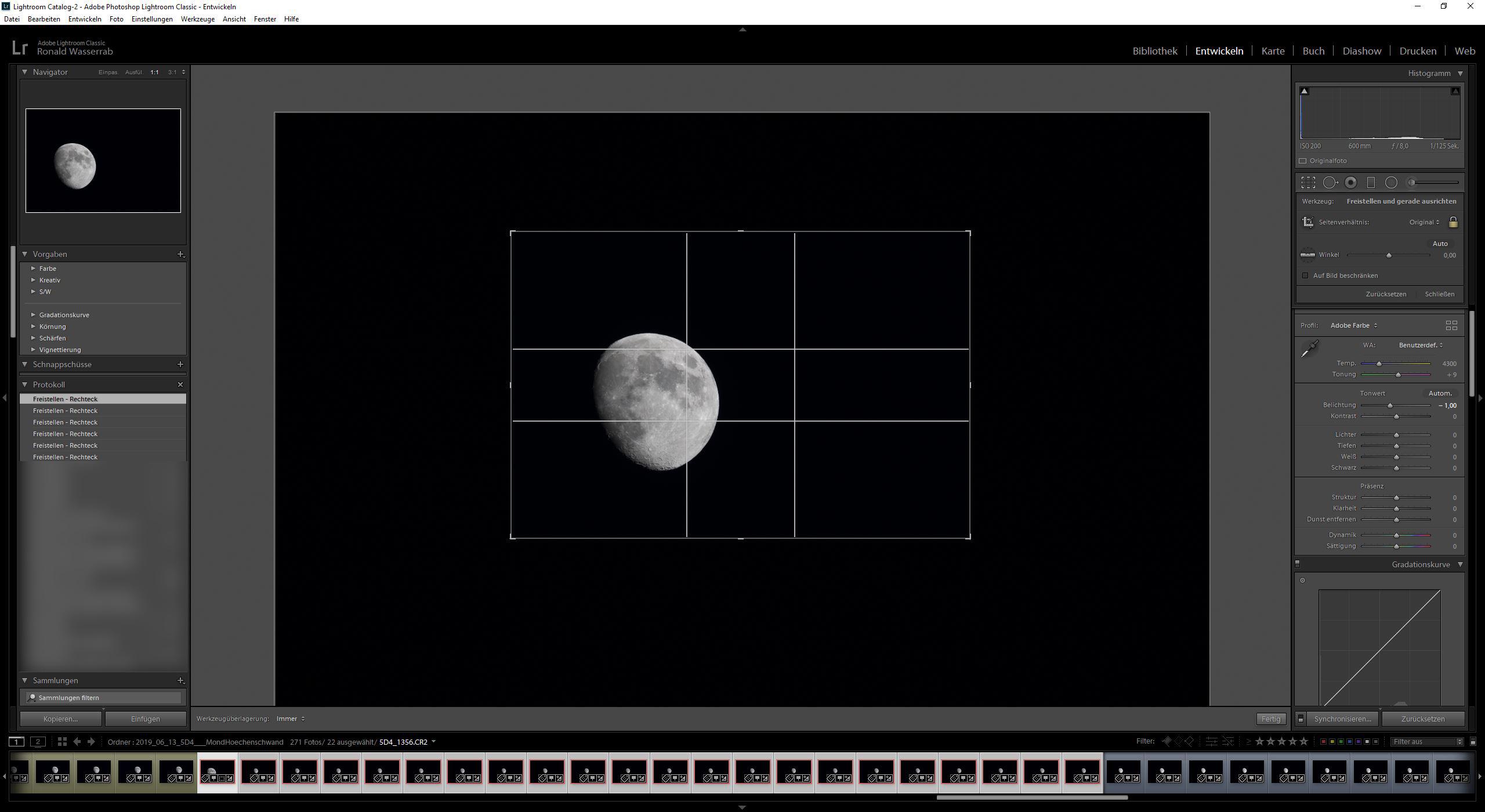 Beim Beschnitt der Mondfotografie darf nur das Fenster verändert, aber der Mond nkeinesfalls verschoben werden