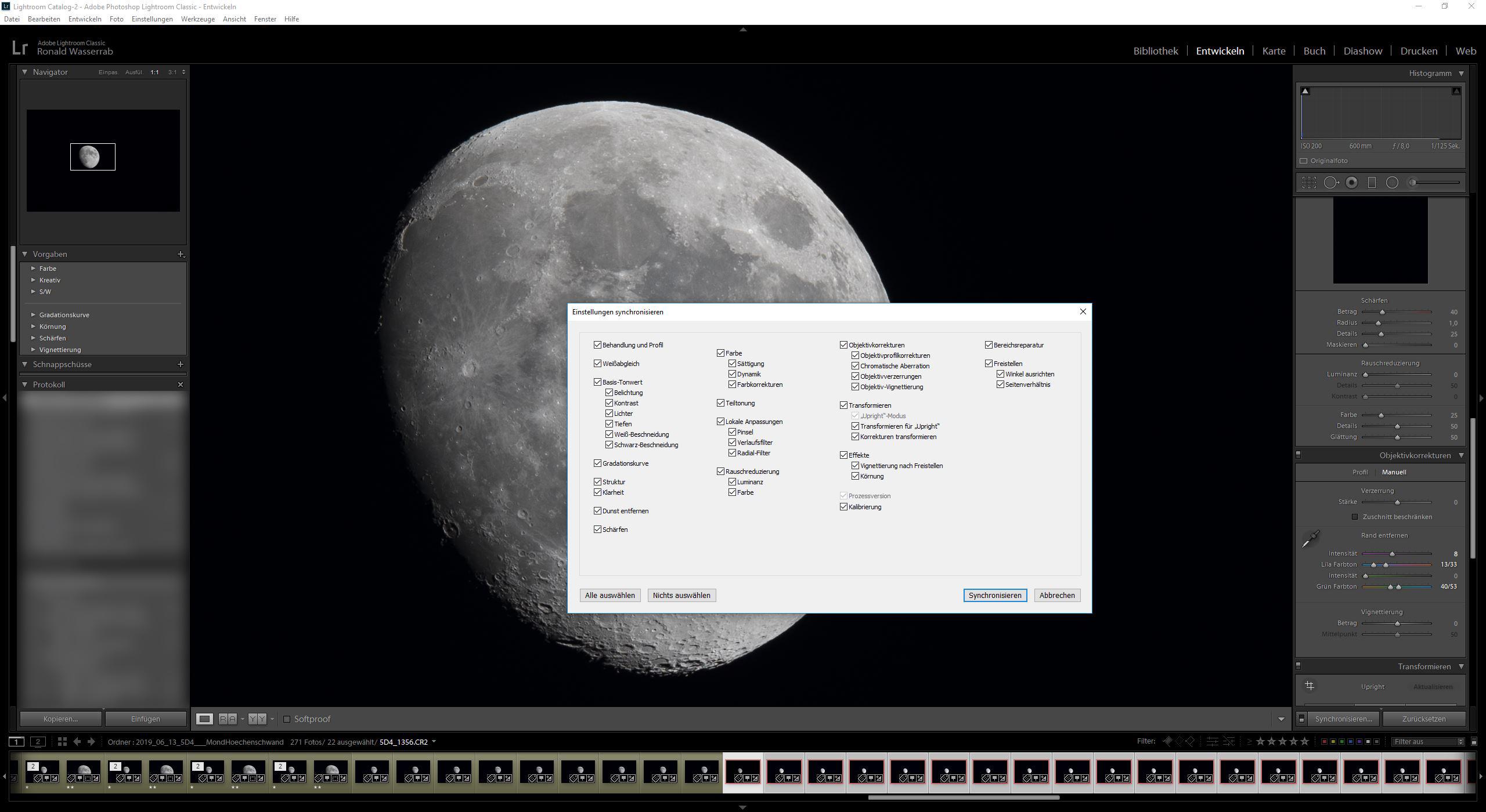 Synchronisierung des gerade bearbeiteten Fotos mit allen anderen markierten Bildern der gleichen Mondfotografie-Serie