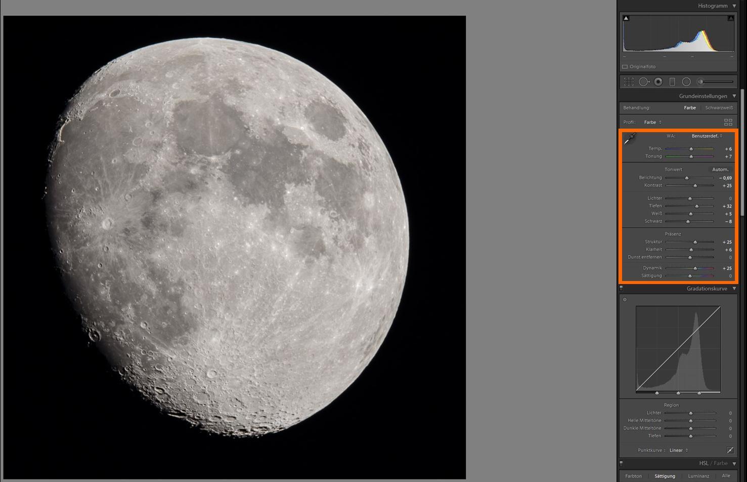 Lightroom-Bearbeitung des Mondfotografie-Summenbildes