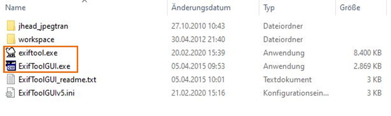 EXIFTool.exe und die Dateien der EXIFToolGUI.exe müssen im gleichen Verzeichnis stehen