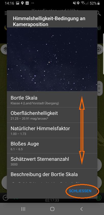 Milchstraßenfotos planen - Beschreibung der aktuellen Bortle-Klasse