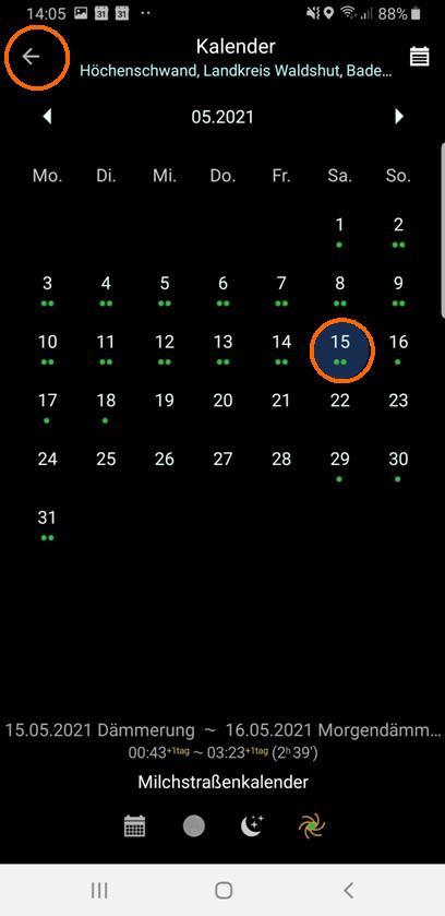 Auswahl 15.05.2021 und Rückkehr zum Planungsbildschirm