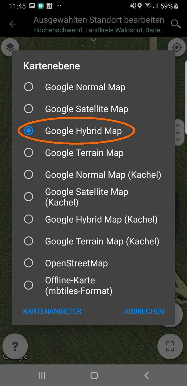 Milchstraßenfotos planen - Kartenwahl