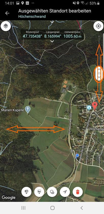 Milchstraßenfotos planen - Navigation durch Wischen/Verschieben des Kartenausschnitts