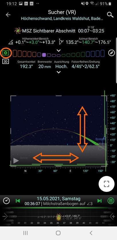 Milchstraßenfotos planen - Der Virtuelle Sucher (VR)