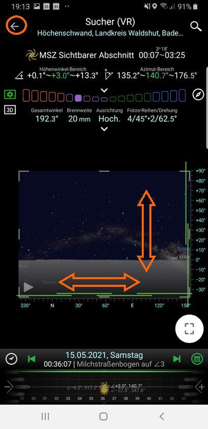 Der Virtuelle Sucher mit realistischer Milchstraßendarstellung