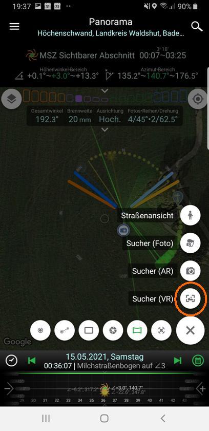 Aufruf Virtueller Sucher (VR)