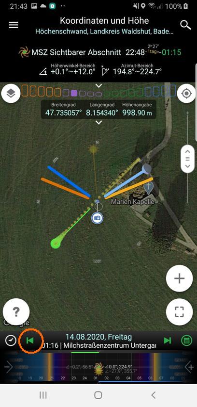 Milchstraßenfotos planen - Zeitleiste auf Zentrumsuntergang