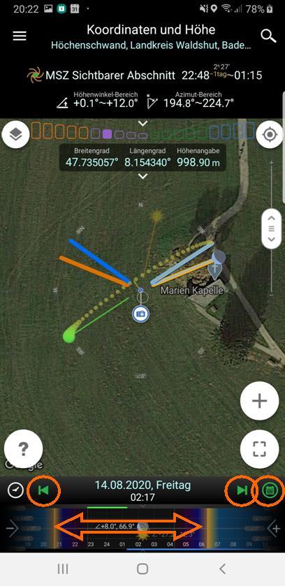 Milchstraßenfotos planen - Zeitleisten-Navigation
