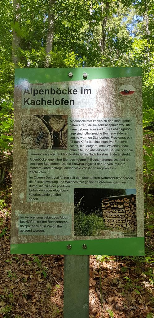 Beschilderung auf dem Alpenbock-Pfad Beuron