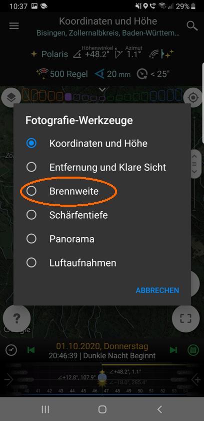 """Wahl der Option """"Brennweite"""" in den Fotografiewerkzeugen"""