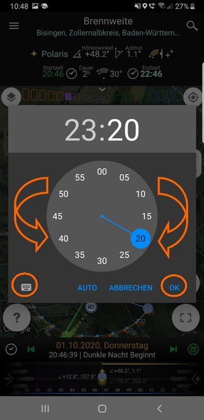 Zeitwahl (Minuten) für Beginn- bzw. Ende-Zeit