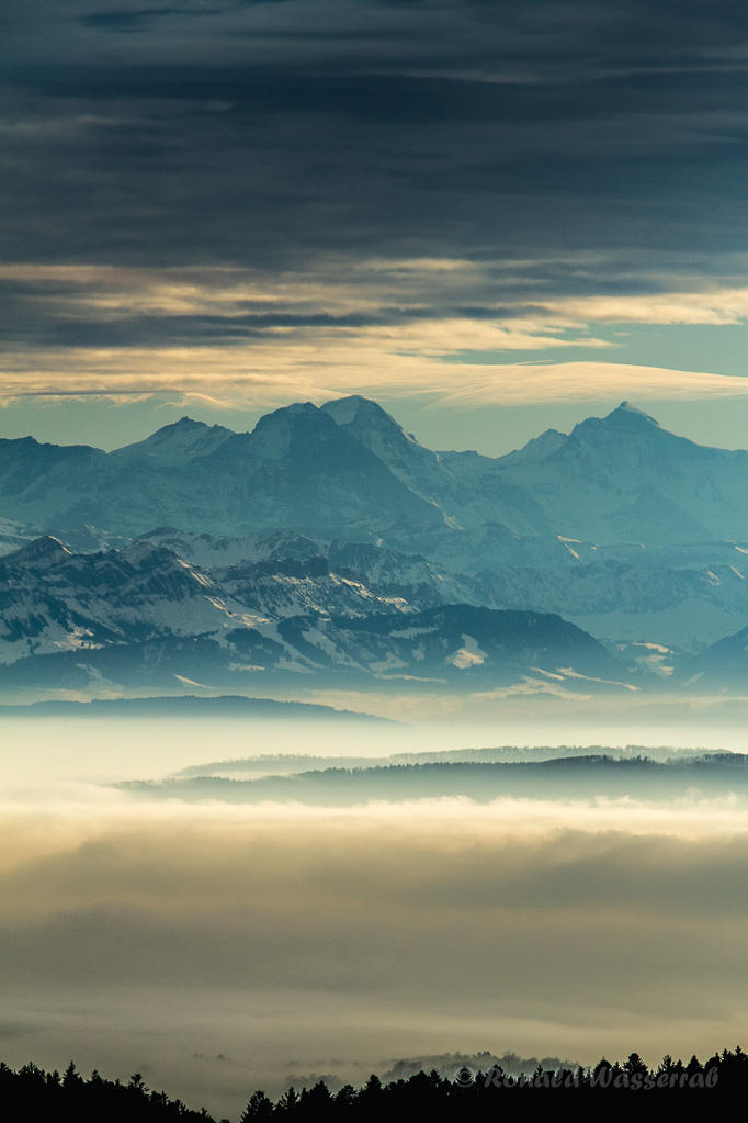 Blick von Höchenschwand auf Eiger, Mönch und Jungfrau
