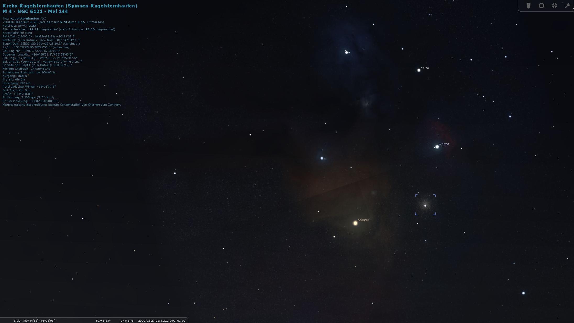 Stellarium - Bildausschnitt durch Zoomen und Verschieben dem Ausschnitt des Fotos weitgehend angepasst