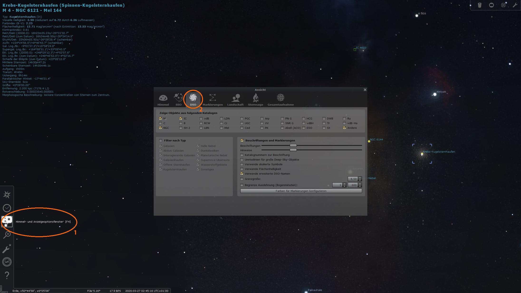 """Stellarium - Anzeigeoptionen zur Identifizierung """"unbedeutender"""" Objekte"""