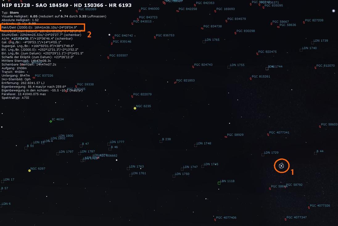 Stellarium - Durch Klick auf einen Stern diesen als HIP 81728 identifiziert