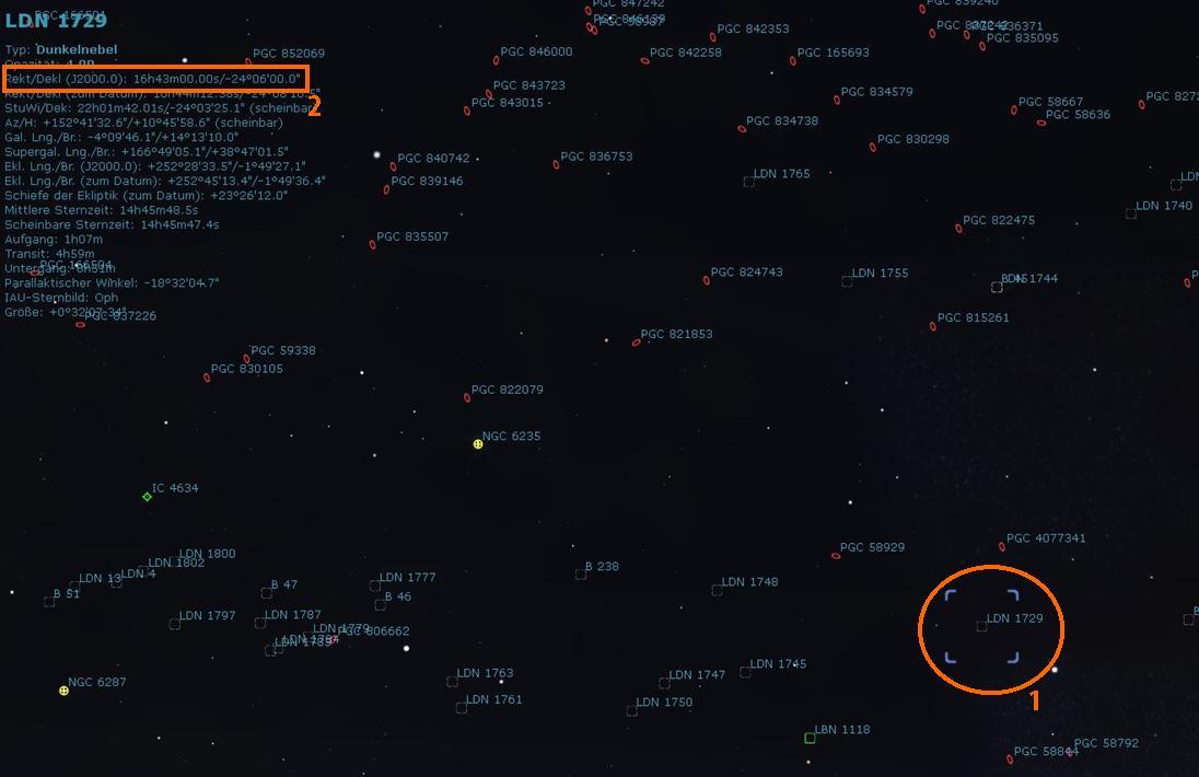 Stellarium - Durch Klick auf LDN 1729 Anzeige der Daten für das Objekt