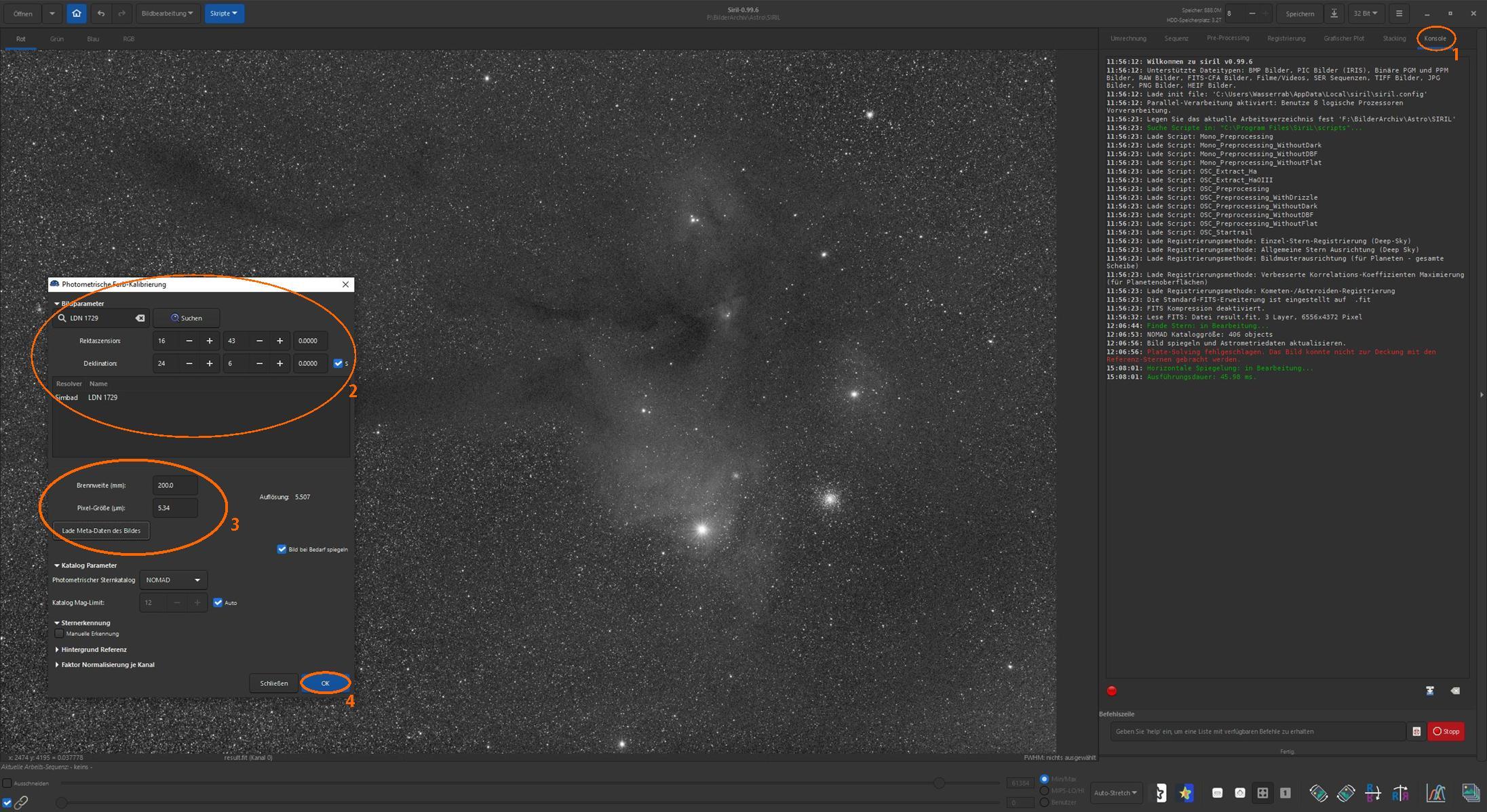 Neue Kalibrierung mit den in Stellarium ermittelten Koordinaten für LDN 1729, die dem Bildmittelpunkt entsprechen dürften