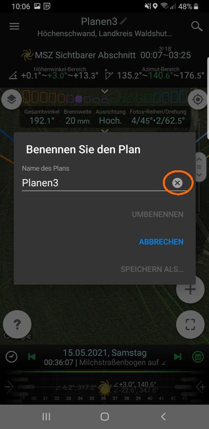 Alten Planungsnamen löschen