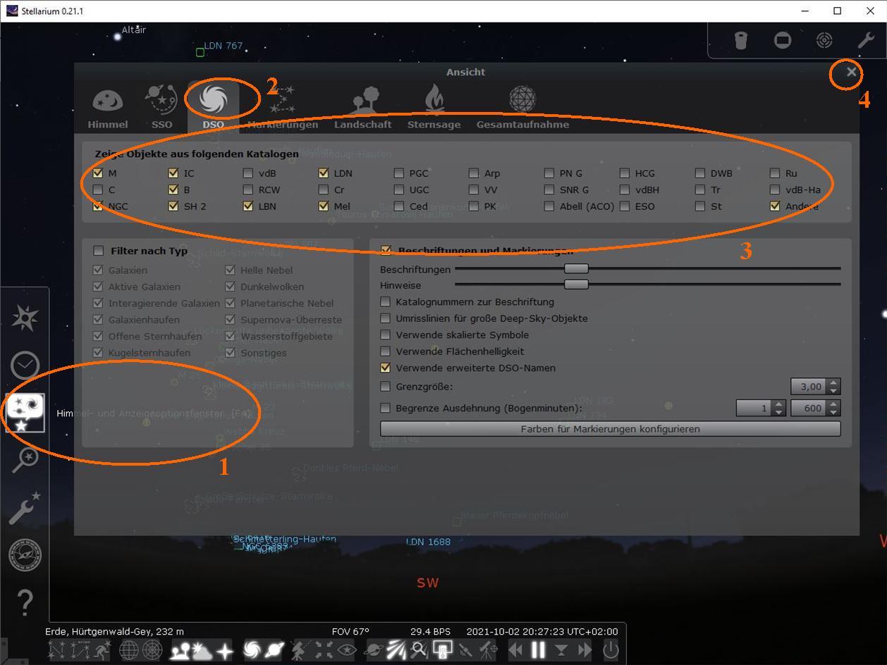 Stellarium Anzeige-Optionen