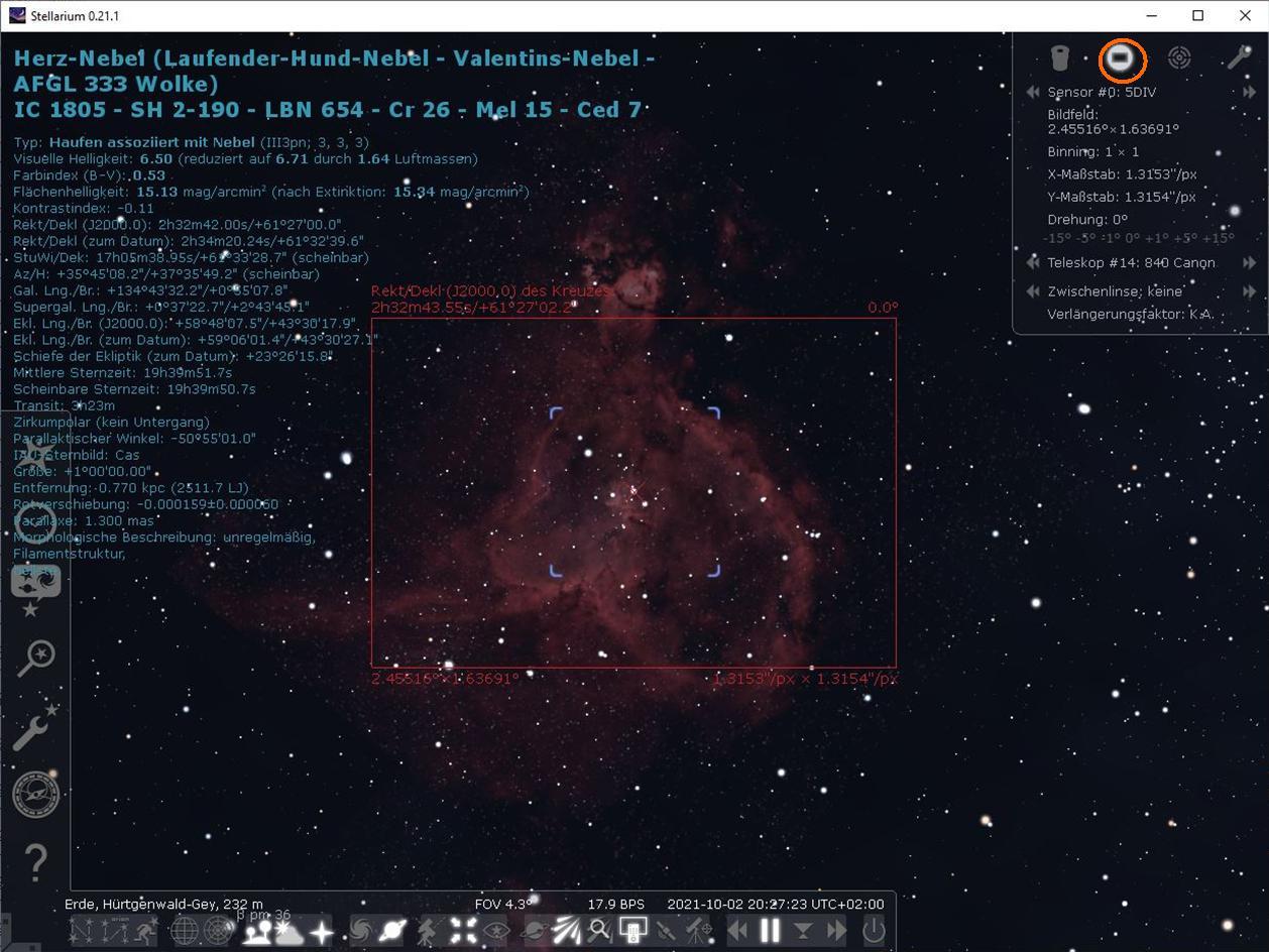 Stellarium-Sensorrahmen im Herz-Nebel