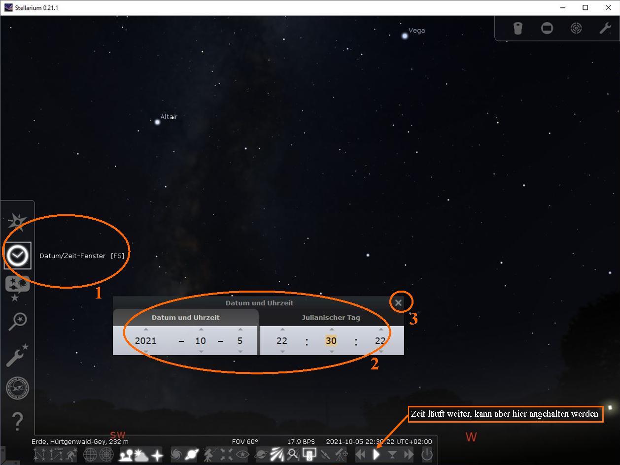 Stellarium Beobachtungsdatum und -zeit wählen