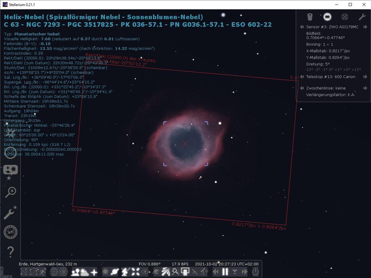Helix-Nebel mit kleiner Astro-Kamera und 600mm Brennweite