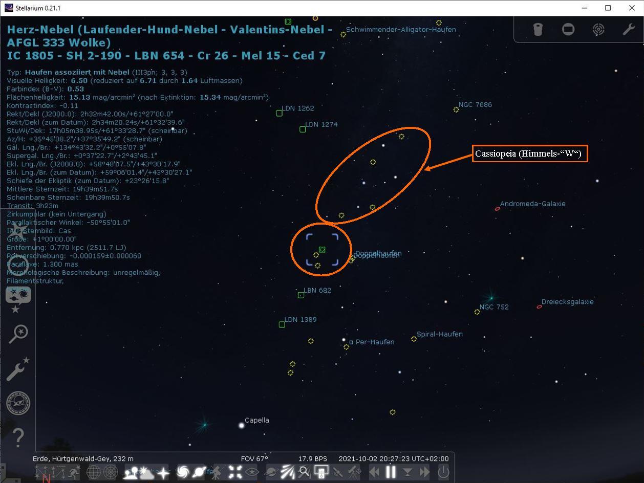 Stellarium hat den Herz-Nebel gefunden, darüber Cassiopeia