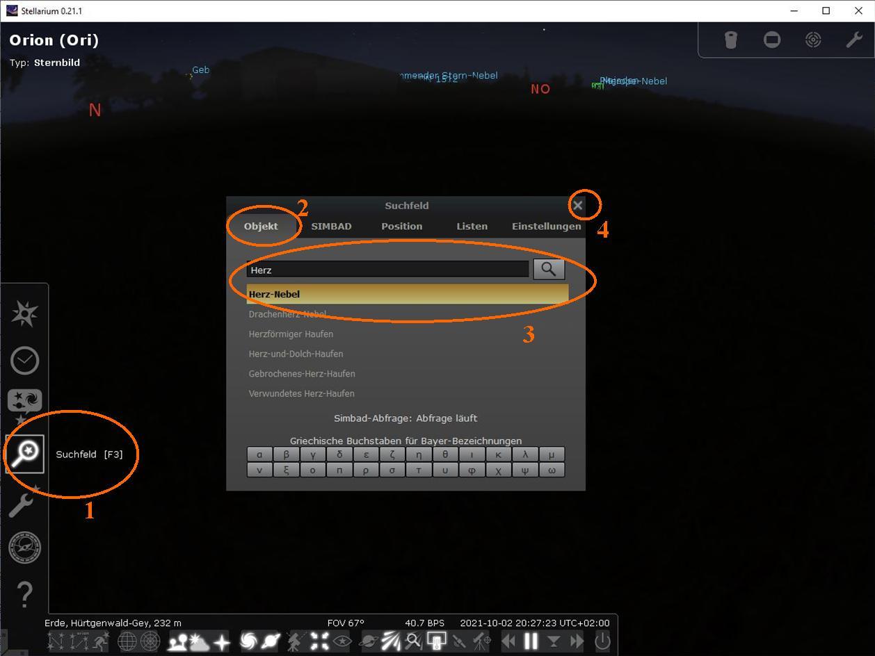 Stellarium Herz-Nebel suchen