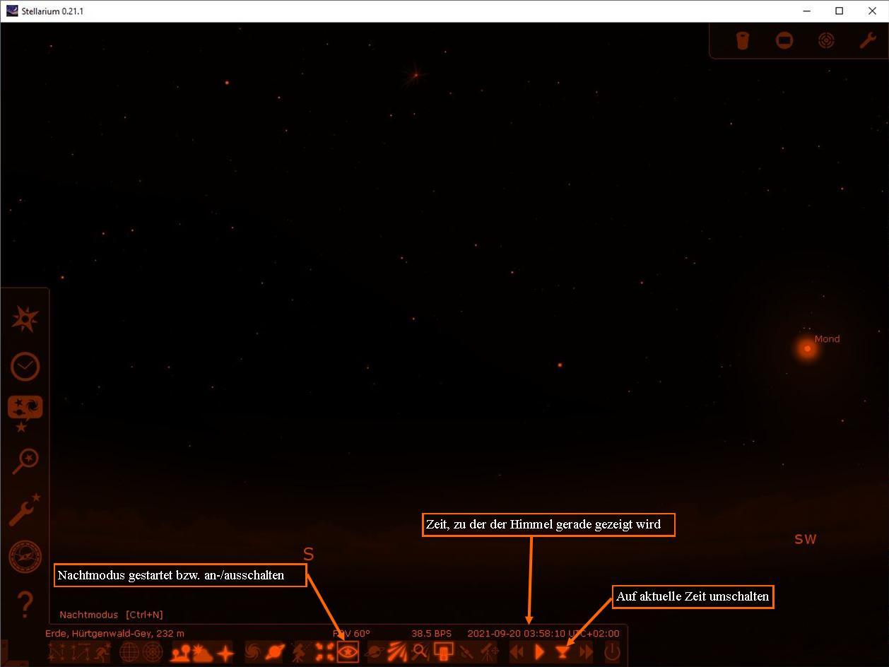Stellarium Nachtmodus