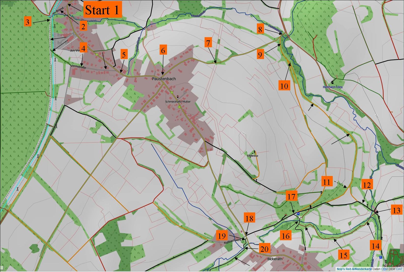 """Wanderung """"Erlebnistour Kall Westwall und angrenzende Moore"""" Karte 1 - Start"""