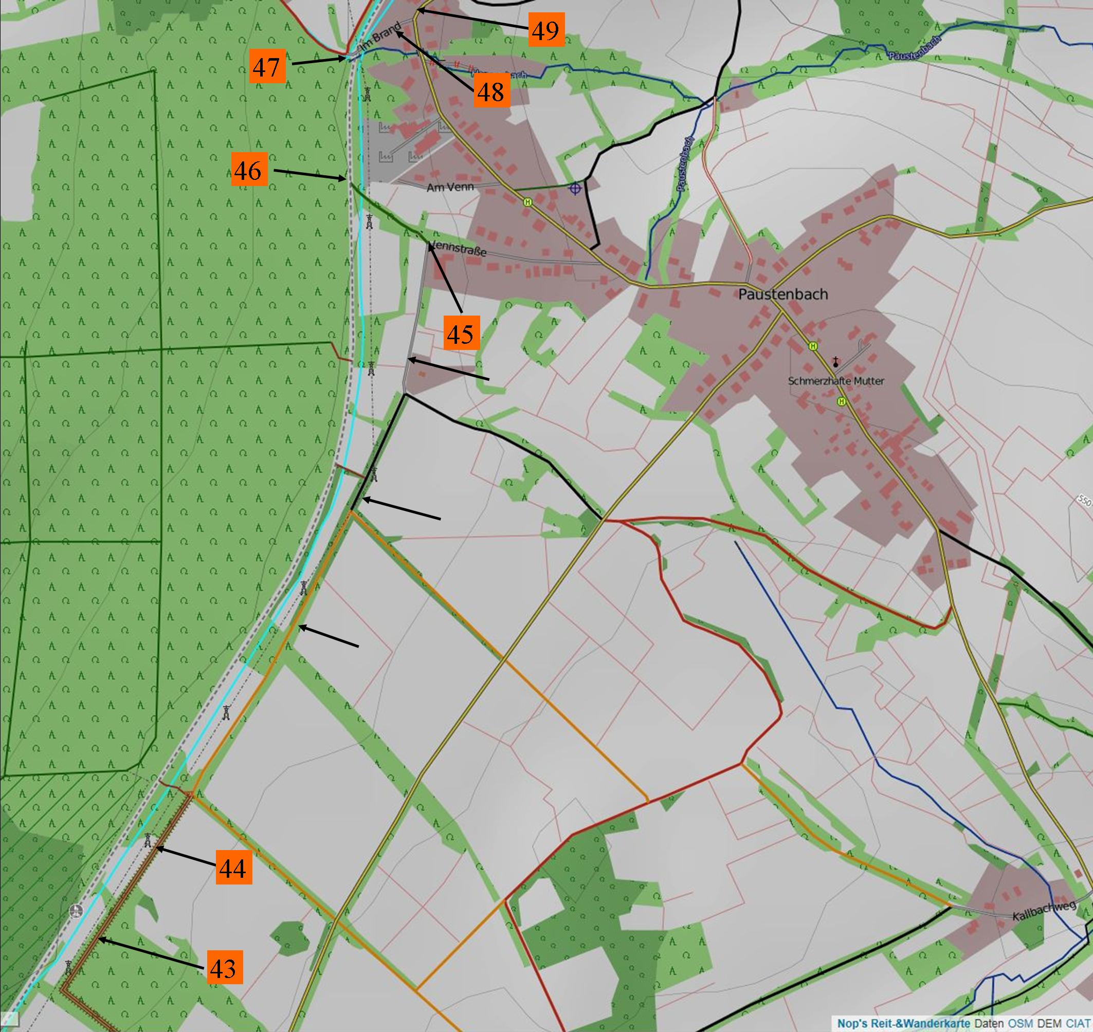 """Wanderung """"Erlebnistour Kall Westwall und angrenzende Moore"""" Karte 3 - Paustenbacher Moor und Tourenende"""