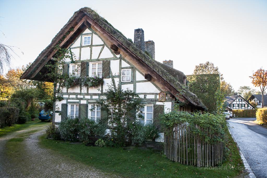 Altes Fachwerkhaus mit Reetdach in Höfen - Stirnseite